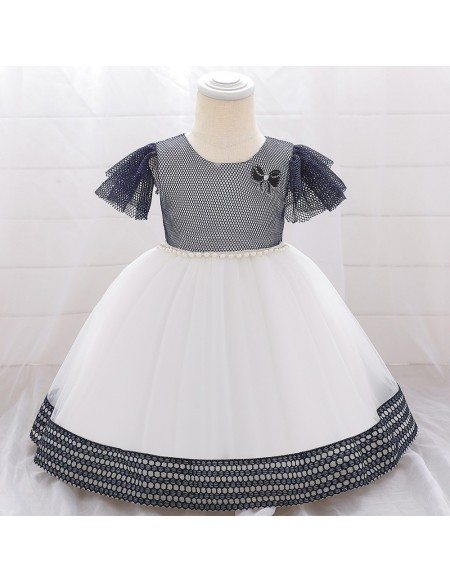 Cute Baby Girl Dresses With Puffy Sleeves For 1-2 Years Old