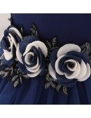 Baby Girl Navy Blue Party Dress Tulle For 1-2 Year Old