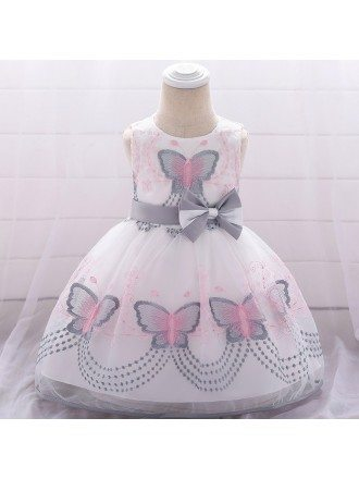 White With Red Butterflies Easter Baby Girl Dress 3-12 Months