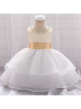 Champagne With White Organza Baby Girl Dress Wedding With Beading For Little Girls