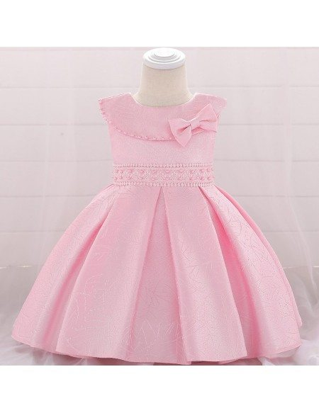 Cute Pink Beaded Baby Girl Holiday Dresses For 3-6-9 Months