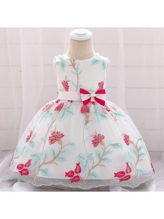 Hot Pink Flowers Little Girl Formal Dress With Sash For Babies 12 Months