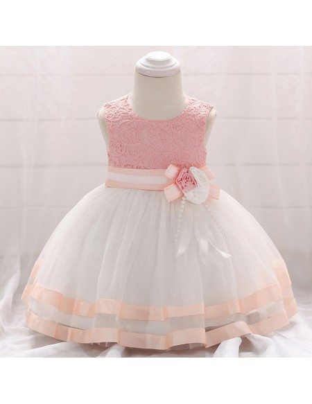 Pink Satin Trim Ballgown Baby Girl Dress With Lace