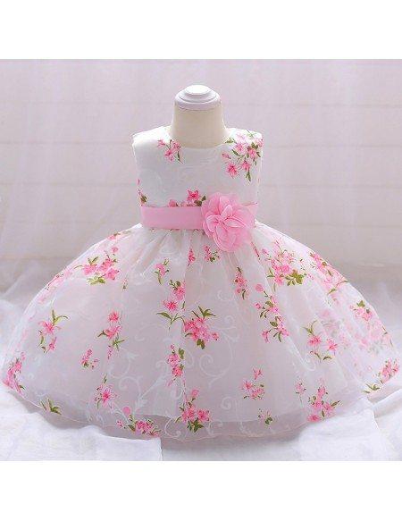 Pink Flowers Baby Girl Dress Easter For Little Girls