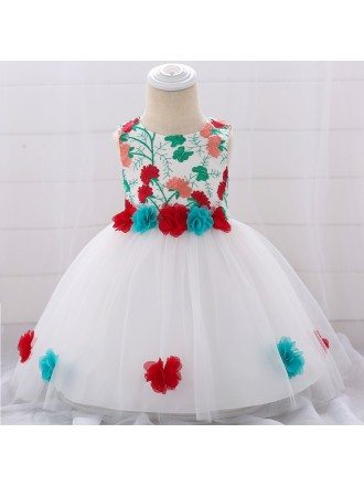 Little Girl Flowers Party Dress For 0-2 Year Old Babies