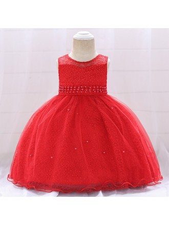Champagne Ballgown Lace Baby Girl Dresses For One Two Years Old