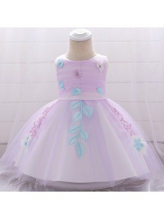 Purple Tulle Appliques Baby Girl Formal Dress For 3-6-9 Months