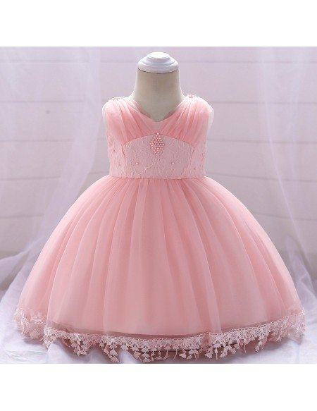 Light Purple Baby Girl Party Dress With Lace Trim For 12-24 Months
