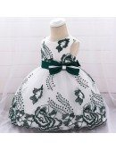 Dark Green Embroidery Baby Party Dress With Bow For 3-6-9 Months