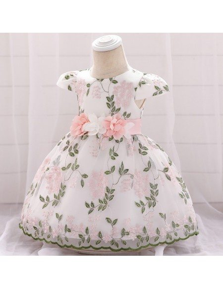 Embroidery Flowers Baby Girl Easter Party Dresses With Sleeves For 6-12 Months