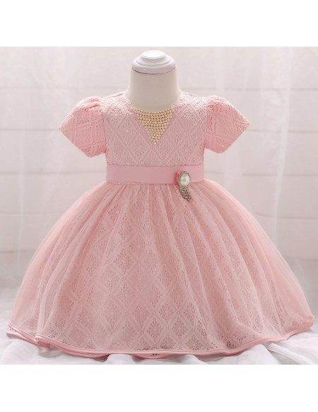 Cute Pink Lace Sleeved Baby Girl Dress Flower Girl 12-24 Months