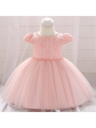 Cute Ivory Lace Baby Girl Dress Wedding With Cap Sleeves 12-24 Months