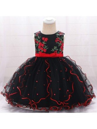 Black Ruffled Baby Girl Dress Formal With Embroidery For 0-6 Months