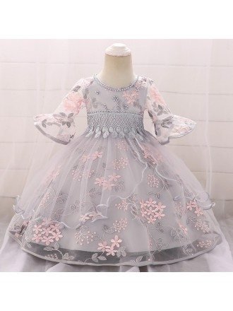 Little Girl Princess Baby Girl Pageant Gown With Bell Sleeves For 9-12 Months
