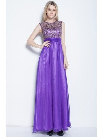 Beautiful High Neck Embroidery Chiffon Lavender Evening Dress for Girls
