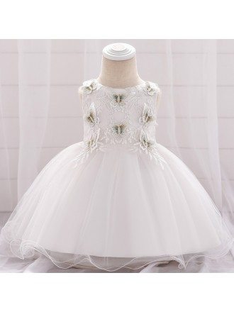 White Butterfly Baby Girl Wedding Dress For 3-6-9 Months