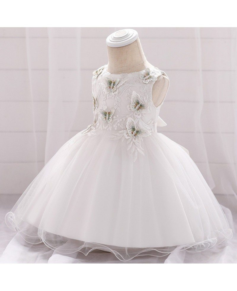 $20.20 White Butterfly Baby Girl Wedding Dress For 20 20 20 Months ...