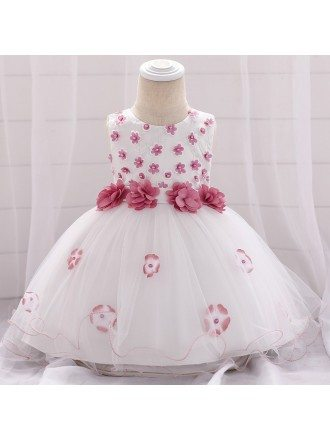 White With Red Flowers Baby Flower Girl Dress For 6-12 Months