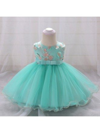 Apple Green Tulle Baby Girl Dress With Sash For 6-12 Months