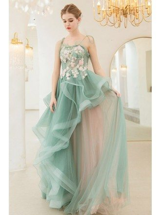 Dreamy Romantic Green Ruffles Long Prom Pageant Gown With Flowers Straps