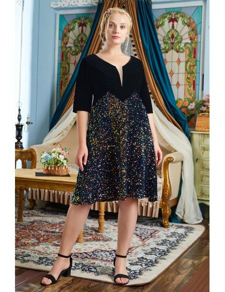 Plus Size Bling Black Sequin Modest Party Dress with Half Sleeves