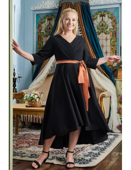 Elegant High Low Black Party Dress Plus Size with Sleeves Sash