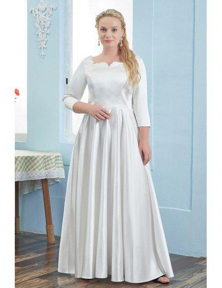 Simple Elegant Satin 3/4 Sleeved Plus Size Wedding Reception Dress High Quality