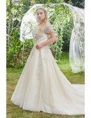 High-end Champagne Embroidered Off Shoulder Plus Size Wedding Dress Ballgown with Train
