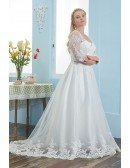 Square Neck Modest Plus Size Wedding Dress Sheer Sleeves with Lace Trim