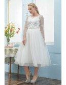 Elegant Plus Size Tulle Tea Length Wedding Dress with Lace Sheer Sleeves