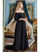 Off Shoulder Formal Long Black Evening Dress Plus Size with 3/4 Sleeves