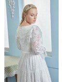 Romantic Boho Lace Plus Size Pregnant Brides Wedding Dress Lace Long Sleeves