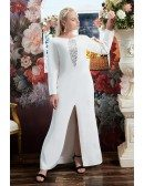 Formal Long Plus Size Evening Party Dress Split Front with Long Sleeves