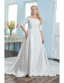 Classy Off Shoulder Satin Plus Size Wedding Dress with Sleeves
