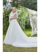 Unique Bling Ballgown Sheer Top Vneck Plus Size Wedding Dress with Short Sleeves