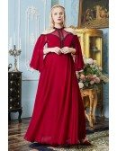Special Long Red Halter Empire Formal Dress with Keyhole Back