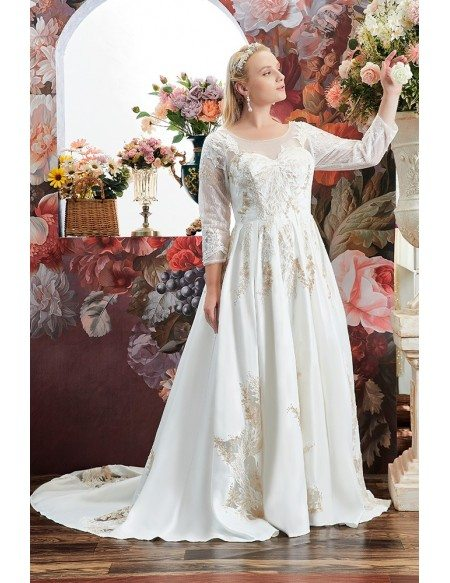 Luxury Embroidered Round Neck Plus Size Wedding Dress with Sheer Sleeves High Quality