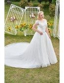 Bling Sequins Plus Size Ballgown Wedding Dress with Off Shoulder