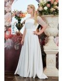Ivory Satin Simple Wedding Dress Plus Size Modest Sheer Sleeves