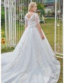 Formal Long Train Ballgown Illusion Sleeved Plus Size Wedding Dress