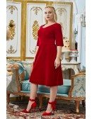 Plus Size Comfy Burgundy Knee Length Party Dress Modest with Half Sleeves