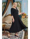 Retro Black Tea Length Semi Party Dress Plus Size Vneck with Half Sleeves