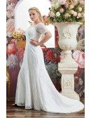 Elegant All Lace Vneck Plus Size Wedding Dress Lace with Sleeves For Curvy Brides