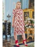 Embroidered Roses Qipao Style Tea Length Party Dress Plus Size with Sleeves