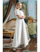 Modest Vneck Simple Satin Wedding Dress Plus Size Beaded with Short Sleeves