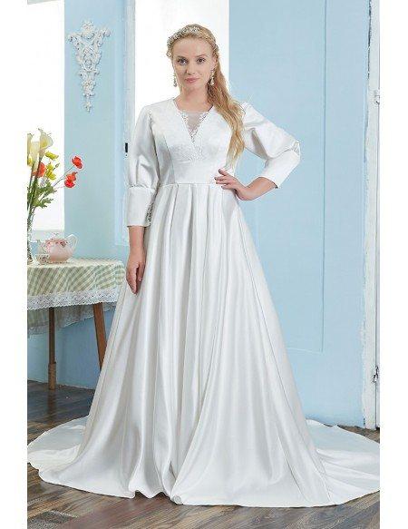 Elegant Satin Plus Size Wedding Dress Modest 3/4 Sleeved Sweep Train