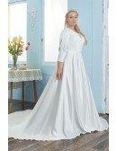 Elegant Satin Plus Size Wedding Dress Modest 3/4 Sleeved Sweep Train