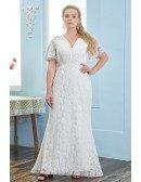 Elegant Mermaid Lace Empire Pregant Wedding Dress Plus Size Puffy Sleeves