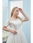 Plus Size Tea Length Tulle Outdoor Wedding Dress with Off Shoulder Sleeves