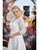 Modest Plus Size Lace Short Wedding Dress Vneck with Sleeves